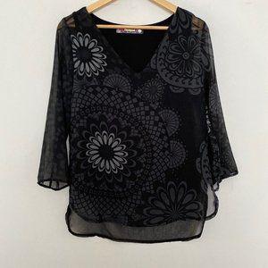 Desigual Medium Floral V Neck Sheer Black Blouse